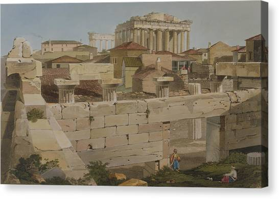 The Acropolis Canvas Print - View Of The Parthenon by Edward Dodwell