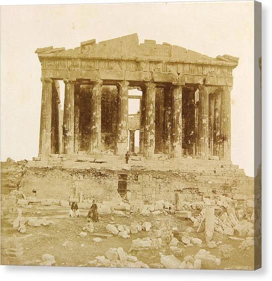 The Parthenon Canvas Print - View Of The Parthenon From The West by James Robertson