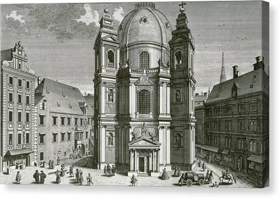 House Of Worship Canvas Print - View Of The Peterskirche, Vienna Engraved By Johann Bernard Hattinger by Salomon Kleiner