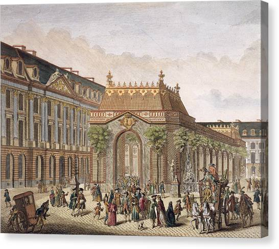 Garden Scene Canvas Print - View Of The Place De Louis Le Grand by French School