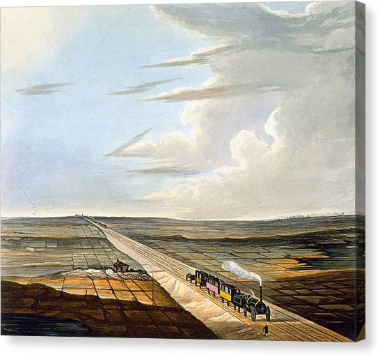 Train Canvas Print - View Of The Railway Across Chat Moss by Thomas Talbot Bury