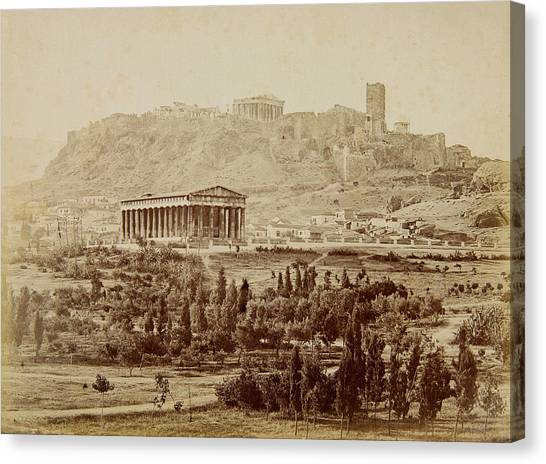 The Acropolis Canvas Print - View Of The Theseion With The Acropolis In The Distance by Petros Moraitis