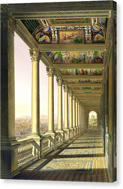 Tile Canvas Print - View Of The Third Floor Loggia by Italian School
