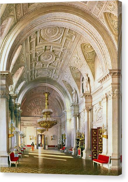 Vault Canvas Print - View Of The White Hall In The Winter Palace In St. Petersburg, 1865 Wc On Paper by Luigi Premazzi