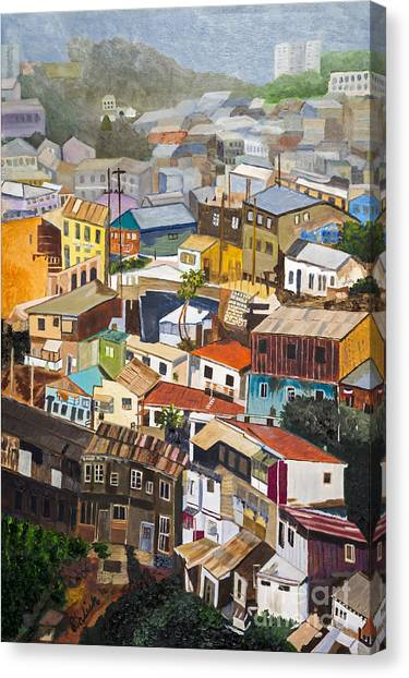 View Of Val Pariso Chile By Stan Bialick Canvas Print by Sheldon Kralstein