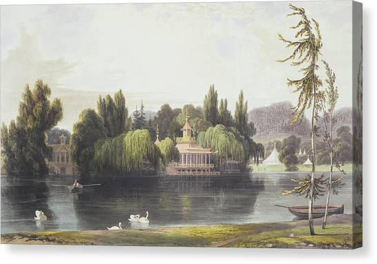 Follies Canvas Print - View Of Virginia Water With Garden by William Daniell