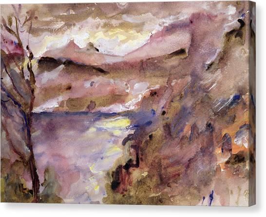 Murky Canvas Print - View Of Walchen Lake by Lovis Corinth