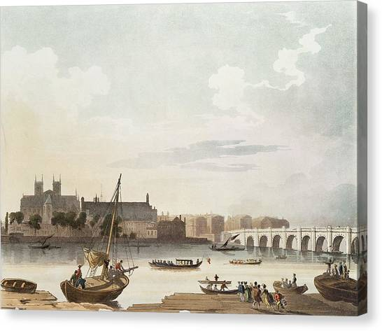 Westminster Abbey Canvas Print - View Of Westminster And The Bridge Wc On Paper by English School