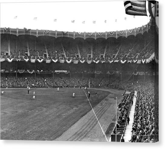 Yankee Stadium Canvas Print - View Of Yankee Stadium by Underwood Archives