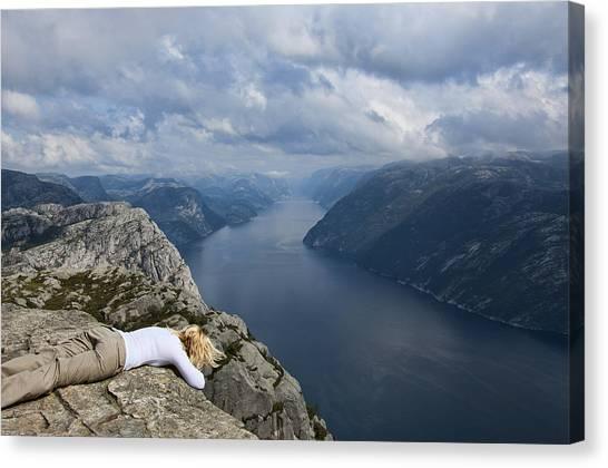 Preikestolen Canvas Print - View On The Fjords by Andrea Magugliani