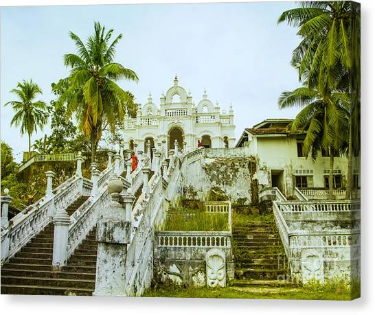 view to the Dodanduwa Temple Canvas Print by Gina Koch