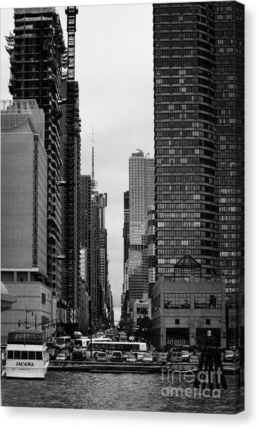 Manhatan Canvas Print - View Up West 42nd Street From The Hudson River New York City by Joe Fox