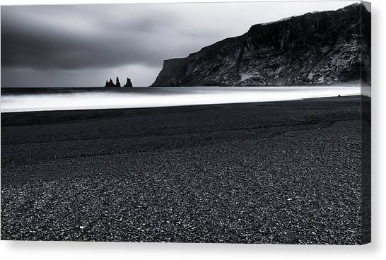 Beach Cliffs Canvas Print - Vik And The Black Sand by Julien Oncete