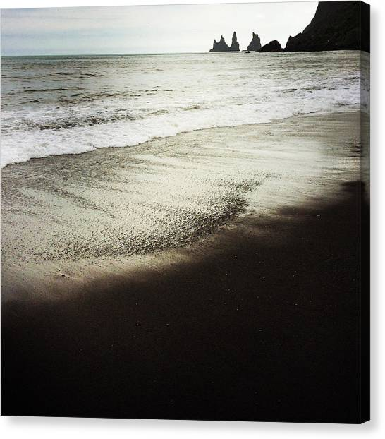 Beach Cliffs Canvas Print - Vik Reynisdrangar Basalt Sea Stacks Iceland by Matthias Hauser