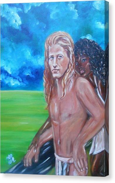 Vikings In America B.h.  - Interracial Lovers Series Canvas Print