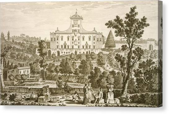 Baroque Canvas Print - Villa Ricci At Pozzolatico by Giuseppe Zocchi