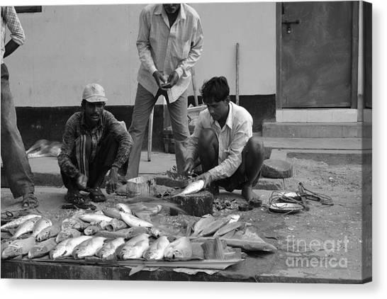 Village Fish Market 1 Canvas Print by Bobby Mandal