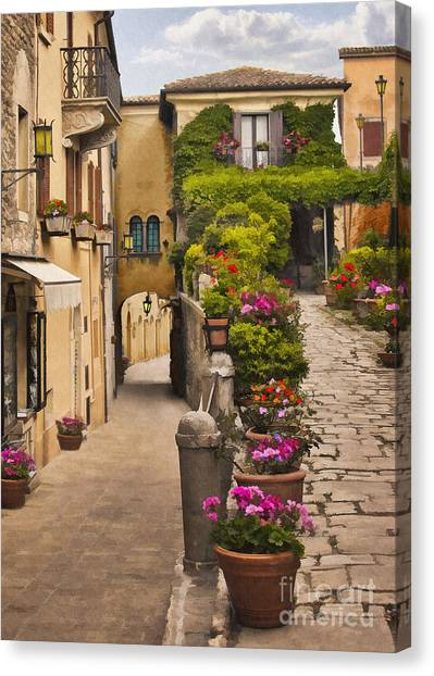 European City Canvas Print - Village Flowers by Sharon Foster