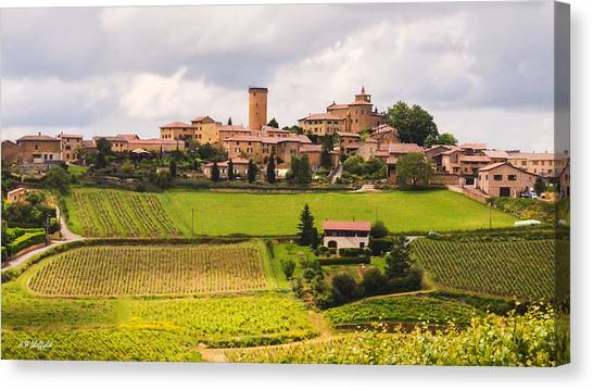 Oingt Canvas Print - Village In French Countryside by Allen Sheffield