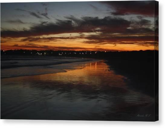 Village Lights At Sunset Canvas Print