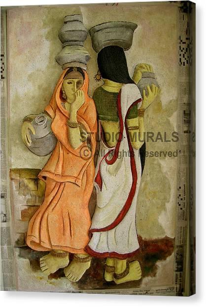 Village Canvas Print by Milind Badve