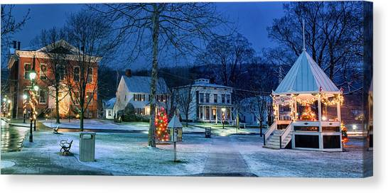 Village Of New Milford - Winter Panoramic Canvas Print