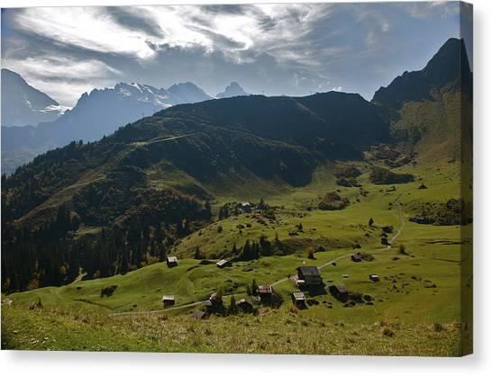 Village Of Spielbodenalp Switzerland Canvas Print