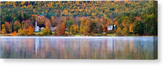 Village On Crystal Lake Autumn  Canvas Print