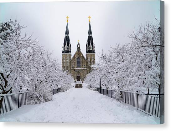 Villanova University In The Snow Canvas Print