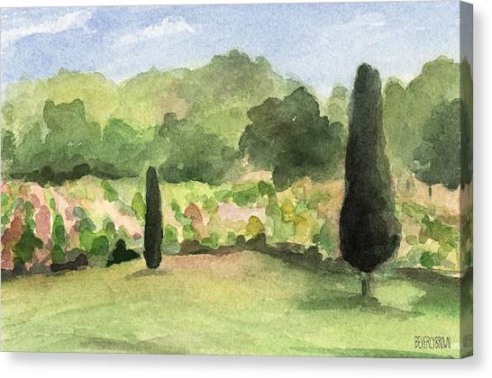 Winery Canvas Print - Vineyard In Provence Watercolor Paintings Of France by Beverly Brown