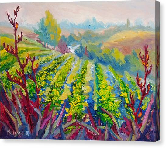 Vineyard Scene Oil Painting Canvas Print