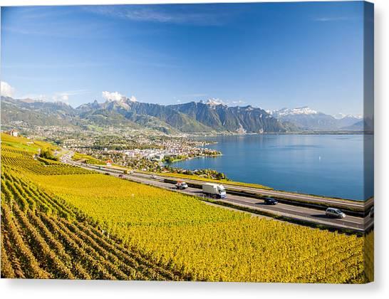Vineyards Near Montreux Canvas Print
