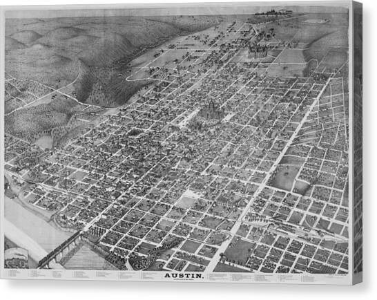 University Of Colorado Canvas Print - Vintage 1887 Austin Texas Map by Stephen Stookey