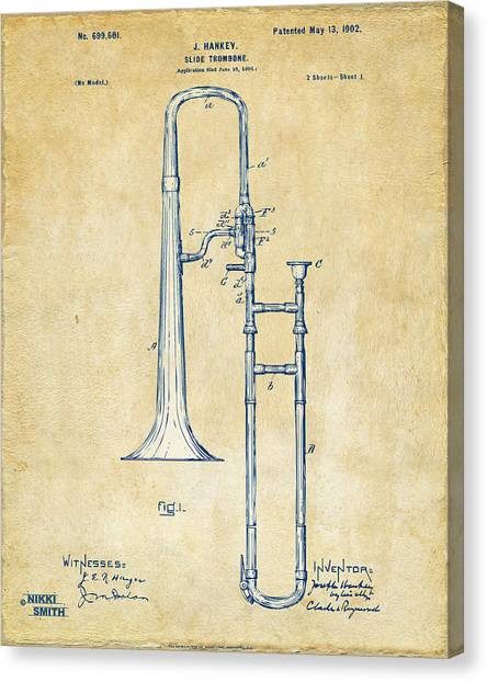 Trombones Canvas Print - Vintage 1902 Slide Trombone Patent Artwork by Nikki Marie Smith