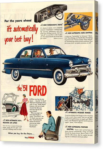 Classic Car Drawings Canvas Print - Vintage 1951 Ford Car Advert by Georgia Fowler