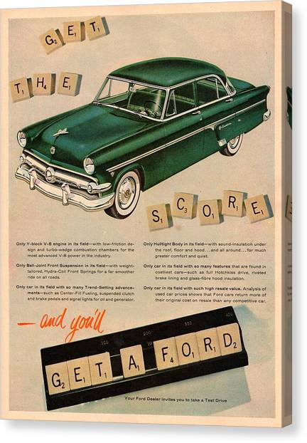 Classic Car Drawings Canvas Print - Vintage 1954 Ford Classic Car Advert by Georgia Fowler