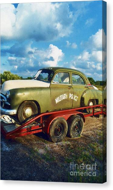 Police Car Canvas Print - Vintage American Military Police Car by Kathy Fornal