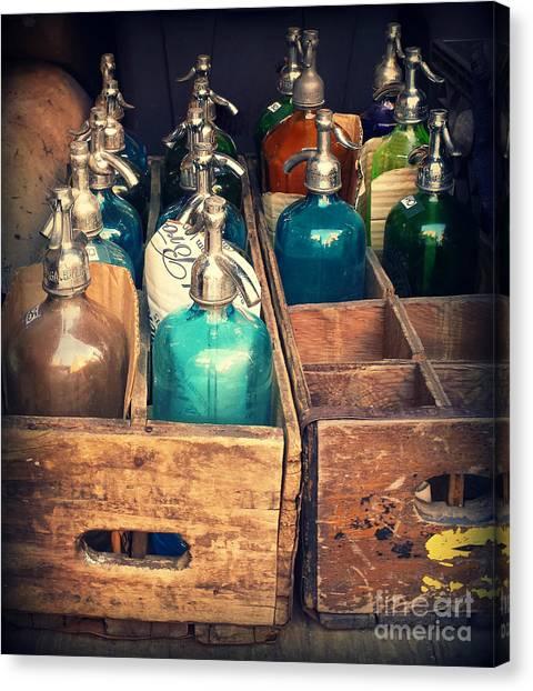 Vintage Antique Seltzer Bottles Canvas Print