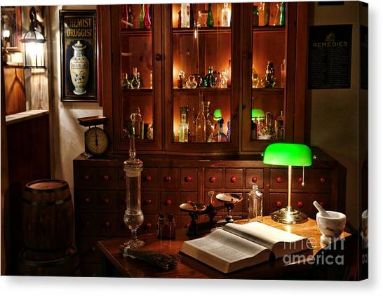 Chemicals Canvas Print - Vintage Apothecary Shop by Olivier Le Queinec