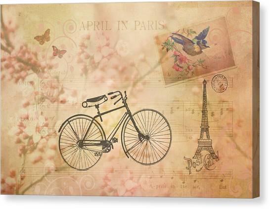 Vintage April In Paris Canvas Print