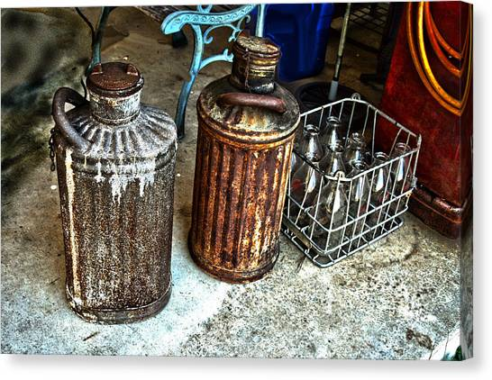 Hdr Vintage Art  Cans And Bottles Canvas Print