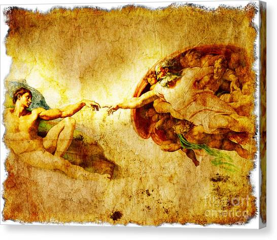 The Vatican Museum Canvas Print - Vintage Art - The Creation Of Adam by Stefano Senise