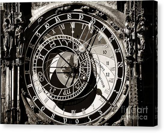 Vintage Astronomical Clock Canvas Print by John Rizzuto