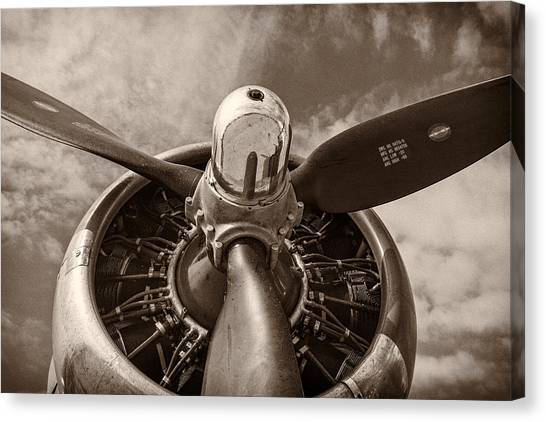 Flight Canvas Print - Vintage B-17 by Adam Romanowicz