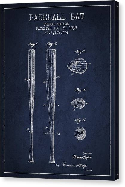 Softball Canvas Print - Vintage Baseball Bat Patent From 1939 by Aged Pixel