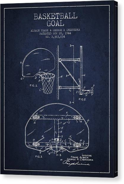 Slam Dunk Canvas Print - Vintage Basketball Goal Patent From 1944 by Aged Pixel