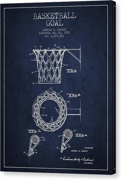 Basketball Goal Patent Canvas Print - Vintage Basketball Goal Patent From 1951 by Aged Pixel