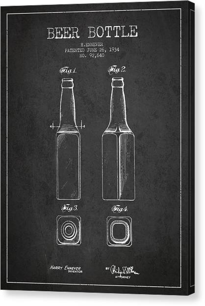 Glass Bottle Canvas Print - Vintage Beer Bottle Patent Drawing From 1934 - Dark by Aged Pixel