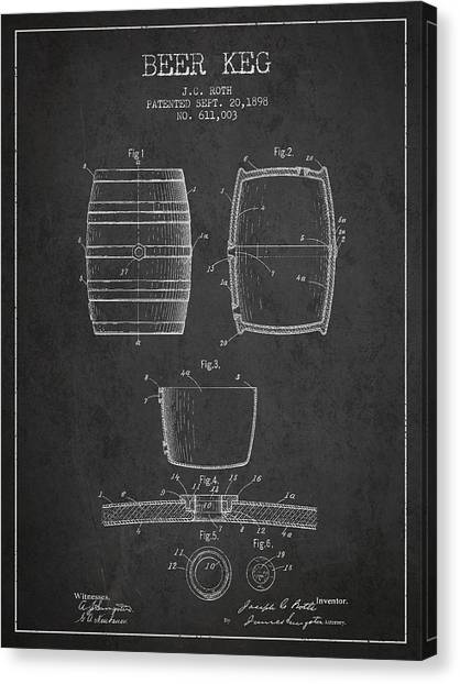 Keg Canvas Print - Vintage Beer Keg Patent Drawing From 1898 - Dark by Aged Pixel
