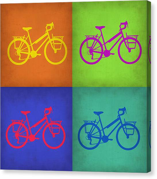 Cycling Canvas Print - Vintage Bicycle Pop Art 1 by Naxart Studio